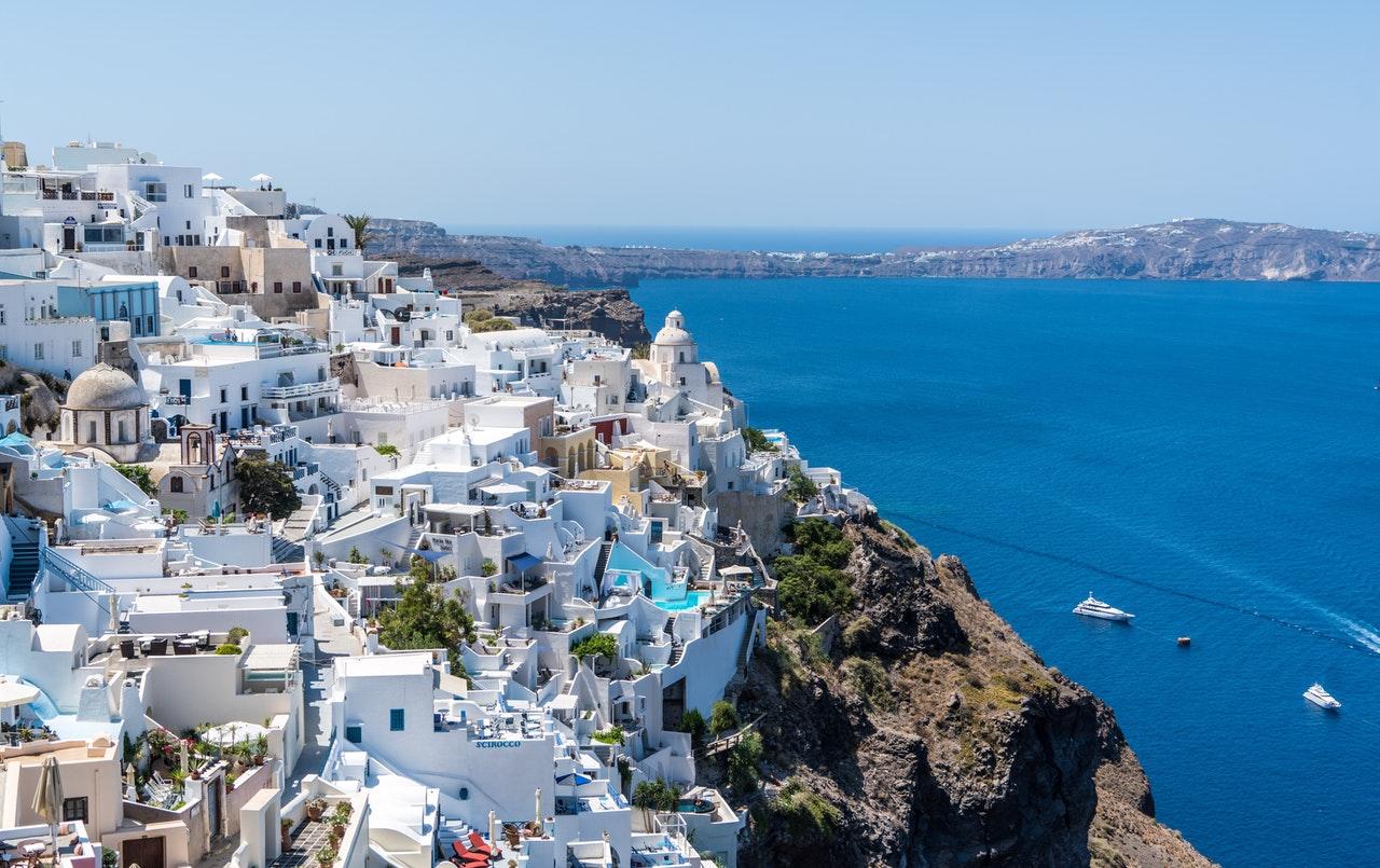 Hus på Santorini i Grekland